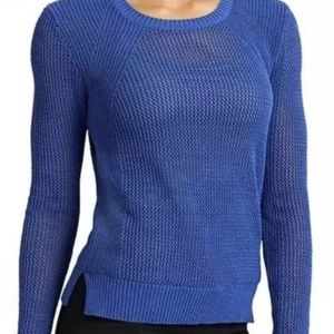 Athleta Blue Perforated Mesh Pullover Sweater M